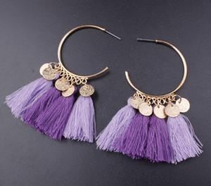 Bohemia Statement Tassel Earrings Gold Color Round Drop Earrings for Women Wedding Long Fringed Earrings Jewelry Gift ps0624