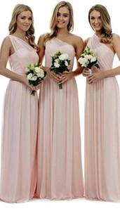 Blush cor-de-rosa um ombro chiffon vestidos de dama de honra pregas uma linha chão comprimento casamento convidado convidado de honra vestidos BM0809