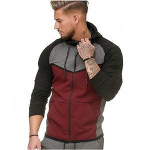 mens designercolor matching fitness sports cardigan sweater hoodie top