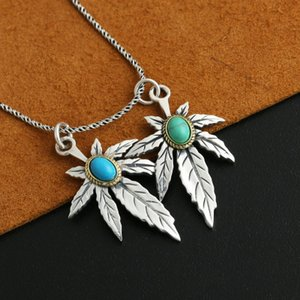 925 Sterling Silver Feather Eagle Turquoise Natural Crystal Men Women Necklace Pendant Jewelry