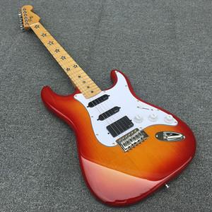 De alta calidad de 6 cuerdas de la guitarra eléctrica ST, Cuerpo de aliso con incrustaciones de cinco estrellas diapasón de arce, cuerpo de tilo, pintura soleado alegre, libera la nave