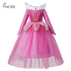 Muababy Kızlar Uyku Güzellik Giyinmek Giysileri Çocuk Uzun Kollu Aurora Prenses Kostüm Kız Noel Cosplay Parti Elbise J190612