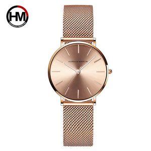 Дорогие Hannah Martin Мода женские часы розовое золото Женские часы Элегантный минимализм Rhinestone вскользь Женский водонепроницаемый часы