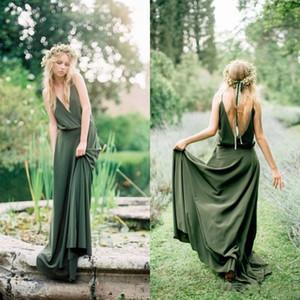 Seksi Yeşil Saten Gelinlik 2020 Yeni Sıcak Satış Özel A-Line Spagetti Askı Özel Durum Elbise Backless Akşam Partisi Gowns P051