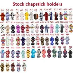 Titolare Chapstick Portachiavi Rossetto Holder copertura del neoprene di stampa Wrap manica rossetti Set chiave Fibbia Multi Style 1 F1 5NY
