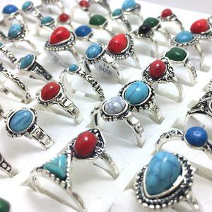 50pcs en gros Misch Silber Türkis weibliche Frauen Mädchen Ringe kühlen Ringe einzigartige Art und Weise Vintage Retro Schmuck