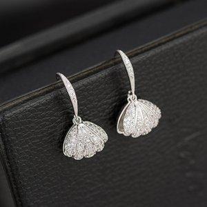 Exquisite luxury Dongdaemun pearl shell ear hook jewelry high-end zircon super flash earrings temperament female casual wild earrings
