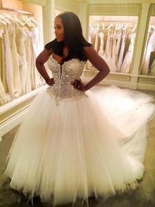 2020 New Arab Black Girl A Line Abiti da sposa Sweetheart Lace Perline Cristallo Ruffy Backless Tulle 3 METRI Train Plus Size Abiti da sposa