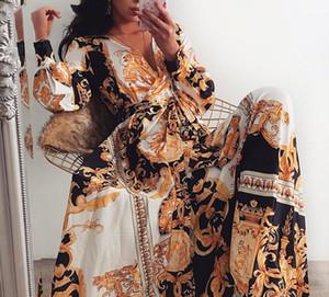 Mulheres festa vestido boho envoltório verão v-pescoço lond vestido feriado maxi solto sundress floral impressão manga longa elegante vestidos