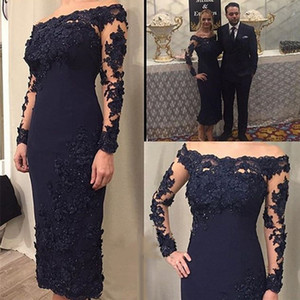 2020 Sexy Plus Size Navy Blue Short Tea Length Arabic Mother Prom Dresses Black One Shoulder Long Sleeves Mermaid Muslim Evening Gowns