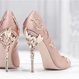 Hanbaidi Sexy Mental Heels Women Pumps Fashion Sliver leaves Decor stiletto Sandals Runway Party Dress Wedding Shoes Woman