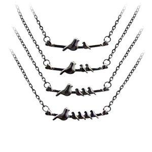 Mamá Bird Collares Colores Negro Aleación Animal Collares pendientes Moda Collar Joyería Día de la Madre Regalos 4 Estilos