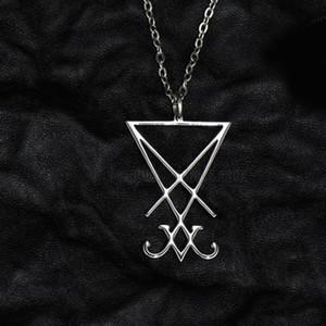 Baphomet Metal kolye kolye Altın Gotik Koyu Pagan Şeytan Erkekler Moda Takı Aksesuar Lucifer Şeytani Sigil Mührü