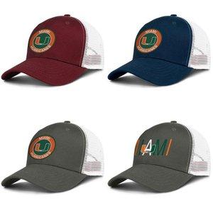 Miami Hurricanes runde Logo-Armee-grüne Männer und der Frauen Arten von Trucker-Kappe Ball individuelle Netzkappen Fußball-Logo laufen
