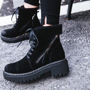 British Fashion starke untere Lace Up-Runde Toe Womens Nubuk Stiefel Harajuku Weinlese-Motorrad-Seiten-Reißverschluss-Plattform Cargo-Boot