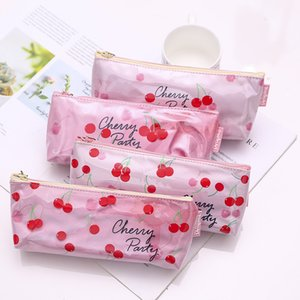 1 Pcs Kawaii PVC Pencil Case Cherry series Gift Estuches School Pencil Box Pencilcase Bag School Supplies Stationery