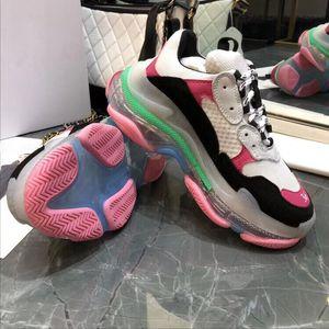 Top del punto bajo de los zapatos ocasionales de los hombres de las mujeres retras Triple S zapatilla de deporte chunck zapatos inferiores Trianer zapatos casuales de la moda de los pares