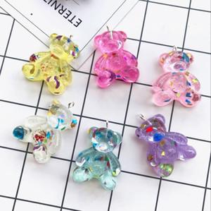 10pcs resina di Kawaii Piccoli fascini dell'orso i pendenti per la decorazione neckalce fai da te orecchino chiave di fabbricazione dei monili a catena