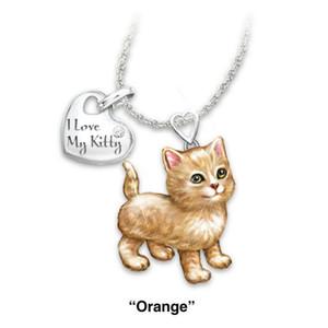 Alfabe Etiket Kız için Sevimli Kedi köpek kolye kolye Moda Bayan çocuklar Hayvan Takı Trendy Mücevher Hediyesi 1pc benim pisi seviyorum