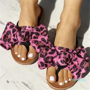 Hot Sale-Bowtie femmes Leopard été Flats Casual Slippers Femme Plage Tongs Slip Comfort Fashion Toe Shoes Clip