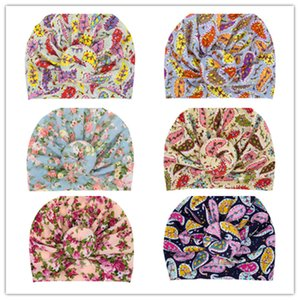 INS Toddler Kids Beanies Bohemian Turban Knot Head Wraps Infant Baby Girls Hats Ball Knots Flower Headwear Childs Donuts Florals Hat D3508