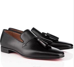 Com Patente couro Box Dandelion Tassel Flat Shoes For Men Lazer Flats Moda High Top Red inferior Partido Loafers vestido Negócios