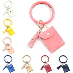 Chaveiro PU Couro Bangle Cartão Wristlet Tassel Carteira Suporte para Mulheres Meninas Coin bolsa bolso Moda Keychain
