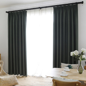 Faux Linen 70% -85% Shading Custom Made Insulating Style Moderne Solide Couleur Blackout Rideau pour fenêtre Living Room Decoration