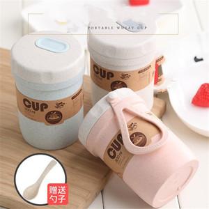 Taza de trigo Válvula de cierre Bento Lonchera Desayuno Beber Gachas Sopa Taza Microondas con cuchara Portátil 4 5lm J1