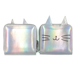 Mulheres Imprimir gato curto dos desenhos animados Laser Bolsas Carteira bonito Coin Purse Crianças Bolsa de Dinheiro embreagem carteira de couro Titular grampo do dinheiro BC BH1631