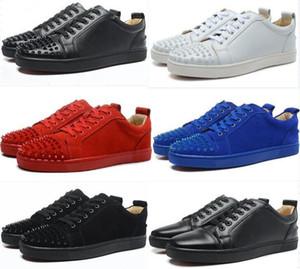 [Boîte originale] hommes de haute qualité chaussures rouge chaussures à semelle en cuir mode femme chaussures chaussures baskets strass rivets botte