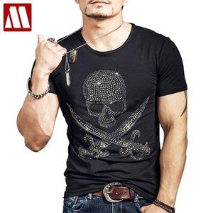 Punk Estilo Hot Fix Crânio Rhinestone impressão de Homens da aptidão T-shirt Hip hop Black Top Male Camiseta Mujer Man Casual T básico Camisetas MX200611