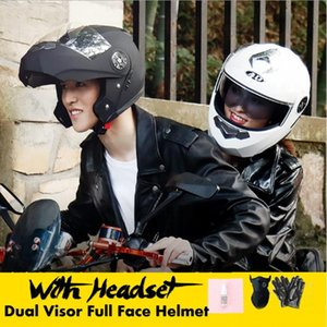 Motorcycle Dual Visor Full Face Helmet With Without bluetooth Music Headset Gloves Super-Cool Motorcycle Bike Off-road Helmet