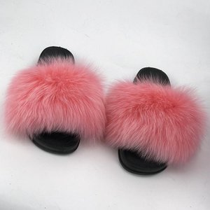 Hot Sale-Real Raccoon Fur Slippers Women 2018 Sliders Casual Fox Hair Flat Fluffy Fashion Home Summer Big Size 45 Furry Flip Flops Shoes