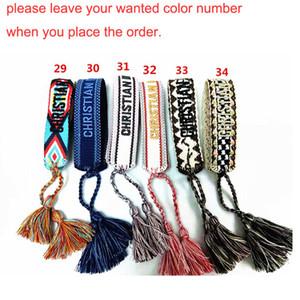 60 цветов мода ювелирные изделия для женщин хлопок ювелирные изделия письмо подпись вышивка браслет тканые браслеты кисточкой шнуровка браслет бесплатная доставка