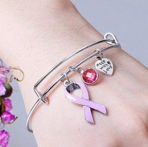 Nastro da regalo Bracciale in acciaio inox Bracciale Donne Breast Cancer regalo Breast Cancer Awareness regalo per le ragazze