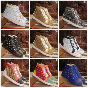 2019 Red Bottoms обувь Шипованная Шипы Flat дизайнер кроссовки для мужчин Женщины Low Cut замша с блестками партии Lovers Свадебный из натуральной кожи заклепка