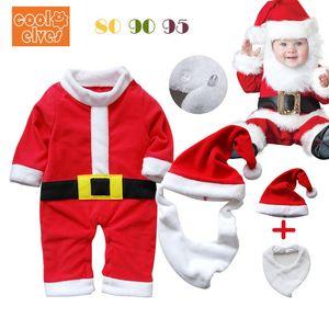 Navidad de una pieza que modela la ropa de una pieza que modela la ropa del bebé ropa que sube sombrero de la ropa del babero de 3 piezas Set