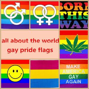 90 * 150см LGBT Флаг Лесбийская Gay Pride Красочные Радуга флаг Дружественные LGBT Прогресс Pride Flag Полиэстер Радуга Баннер Декор