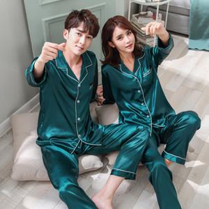 Pajama Set 2 Pezzi camicia e pantaloni degli indumenti da notte 2019 Nuova Pijama Home Abbigliamento di Daeyard pigiami di seta per le donne e gli uomini raso coppia