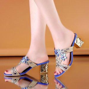 Elbise Ayakkabı Kadın Moda Tatlı Mavi Kristal Yüksek Topuk Sandalet Yaz Bayan Rahat Parti Gece Kulübü Golden Sandal Sandales Femmes E5837