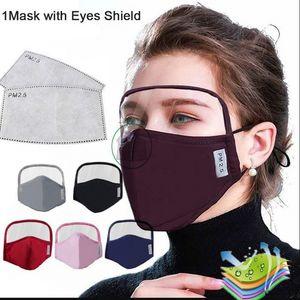 EEUU Stock 2 en 1 máscara de algodón con los ojos de la cara Protección escudo Ojos Máscara completa de la cubierta del polvo anti unisex a prueba de viento Hombres Mujeres protectora FY907 Máscara