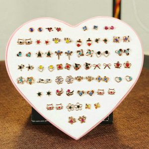 2016 36 Pairs Box Earring Multi Color Crystal Cartoon Hypoallergenic Plastic Stud Earrings Set For Women Girl Gifts Jewelry 36 Pairs Box UaS