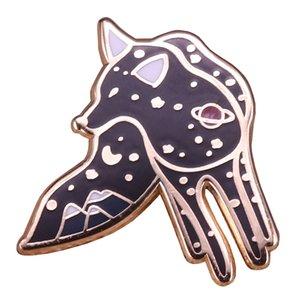 المجرة الثعلب دبوس نجمة الجبل بروش يلة السماء كوكب شارة لطيف الحيوان علم الفلك استكشاف المجوهرات عشاق الطبيعة هدية