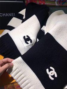 mulheres por atacado-de malha de lã cachecol homens xale moda outono inverno lenços longo preto clássico e caixa branca xale Grain Adicionar bolsa