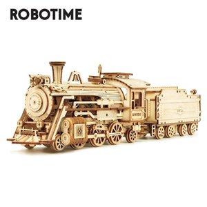 Robotime 308pcs criativa DIY móvel 3D Prime Steam Train Enigma de madeira Jogo Assembléia Toy Presente para as Crianças Adolescentes Adulto MC501 MX200414