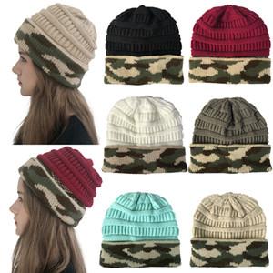 Winter Women Knitted Hat Warm camouflage patchwork Wool Hat Ladies Men unisex Skull Beanie Solid Female Outdoor Caps LJJA2774