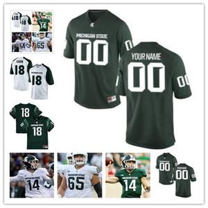Custom Mens Michigan State Spartans NCAA Big Ten Brian Lewerke College ncaa Jersey Cosido Personalizado cualquier nombre cualquier número Camisetas personalizadas