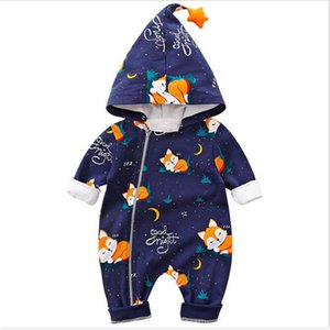Newborn Baby Boys Girls Cartoon Autumn Winter Baby Cotton Clothes Hooded Long Sleeve Zipper Jumpsuit Kids Overalls