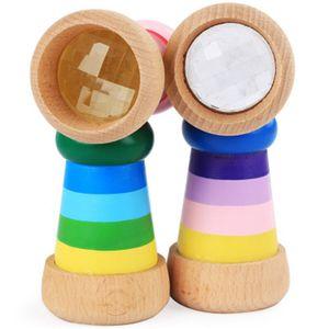 oeil d'abeille magique en bois enfants kaléidoscope effet multi-prisme jouets éducatifs saisissant début de puzzle Observation du monde coloré jouets 4 couleurs